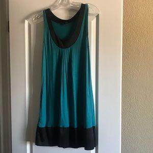 Express aqua and black shift dress